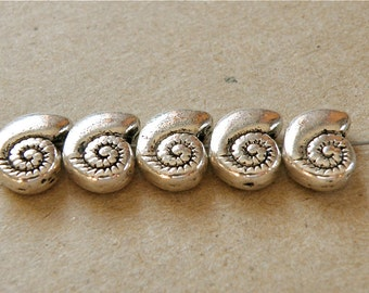 12 Pewter Snail Ammonite Nautilus Spacer Beads