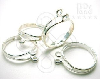 clearance -50% / G112SP / 6Pc - Silver Plated Adjustable / Free Size Finger Ring Findings.
