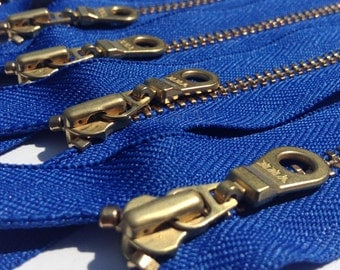 6 inch closed bottom YKK metal zippers with gold brass teeth and donut style pull- (5) pieces - Royal Blue 918