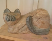 Antique Hand Carved Cat Wood Carving Primitive Decor