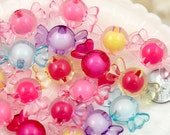 Candy Beads - 30mm Chunky Candy Shape Pink Acrylic or Resin Beads - 14 pc set