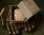 Antique Settee™ - natural solid perfume in brass compact - Earl Grey, Bergamot, Black Tea, Rose, Violet, Lemon, Wood