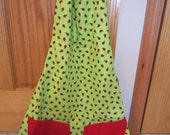 Classic Spring Summer  Reversible Apron With Ladybugs On One Side  And Sunflowers On Other Side