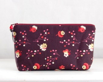 Posie Raisin Wide Padded Zipper Pouch Gadget Case Cosmetics Bag - READY TO SHIP