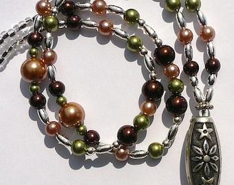 Pearl Id Lanyard,  Beaded Id Badge Holder, Id Necklace