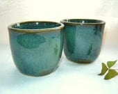 Whiskey Tumbler Irish Coffee Cup Set of 2 in Green Stoneware Pottery