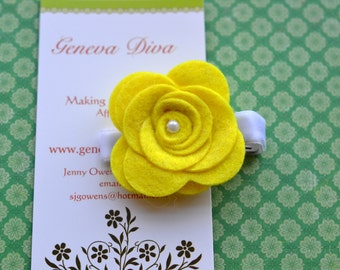 Yellow Felt Rosette Hairclip