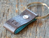 Monogrammed Distressed Brown and Turquoise Leather Keychain - Short & Wide Style