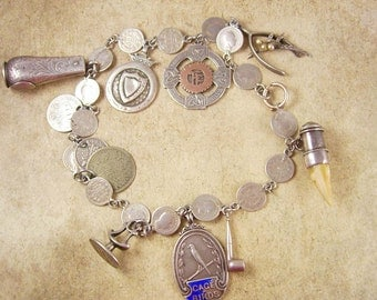 1855 Antique Sterling Fob Necklace LOADED With LARGE charms coins hallmarked Must SEE!