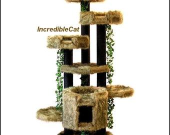MAJESTIC Cat FURNITURE 6' High Breckenridge, Best Cat Beds, High End Cat Trees, Elegant Cat Condos, Modern Cat Trees, Breckenridge 3BBg2Lp