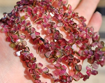 """Bright Rubelite Pink Green Watermelon Tourmaline Smooth Slice Petal Briolette Drop Beads 3"""" strand or full length NECKLACE"""