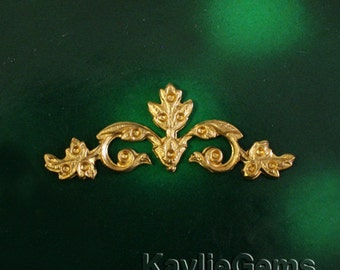 2 Filigree Stamping Scroll Ornate Ornament Art Nouveau Baroque Victorian Style Raw Brass -R3227RB