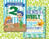 DIY Boy Bubble Guppies Birthday Party Invitation with sand, polka dots, & stripes