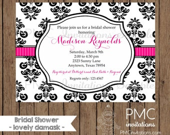 Custom Printed Damask Bridal Shower Invitations - 1.00 each with envelope