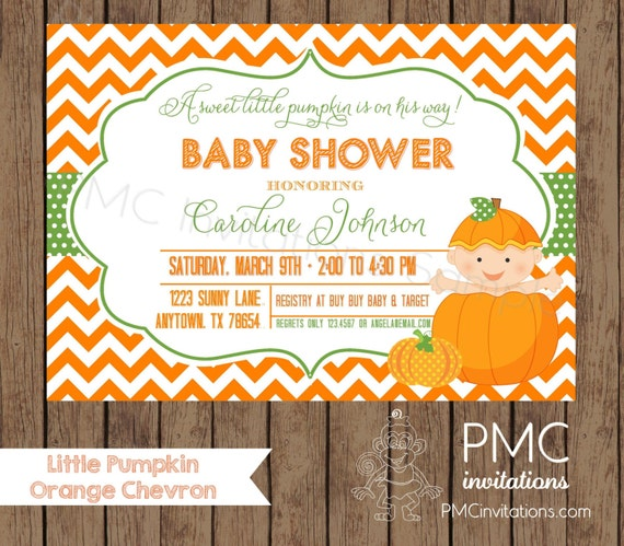 custom printed pumpkin baby shower invitations each with