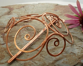 Celtic Spirals Barrette - Copper wire - Extra large - Hair clip or bun cage