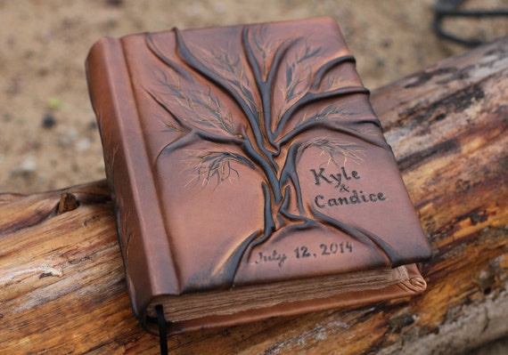 Wedding Guest Book Personalized Leather Journal Tree of life 8,7 x 6,5 inch