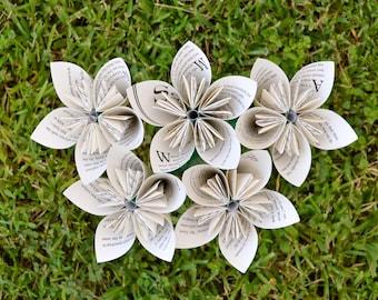 The Secret Garden Recycled Book Paper Flowers {5 Medium Size}