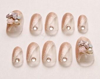 Acrylic nails, press on nails, oval nails, elegant, hime gyaru, bling, lace, bridal nail set