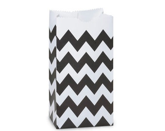 10 Black Chevron Gift Bags, Chevron Favor Bag, Lunch Bag . 2lb