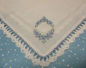 REDUCED/something blue wedding handkerchief, hand crochet /hand embroidered,  awaiting initial,Oval, wedding handkerchief,, bouquet wrap,