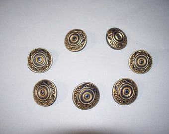 7 Vintage Fancy, Gold and Blue Colored, Shank Buttons, Lot 2540 (Free US Shipping)