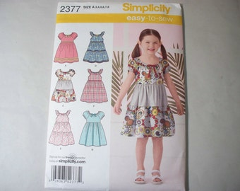 New Simplicity Girl's Dress  Pattern, 2377  A (3-4-5-6-7-8)  (Free US Shipping)