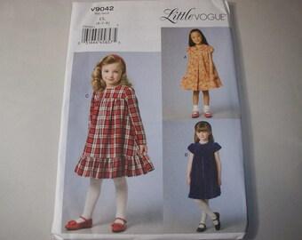 New Vogue,  Girls' Dress  Pattern, V9042 (6-7-8) (Free US Shipping)