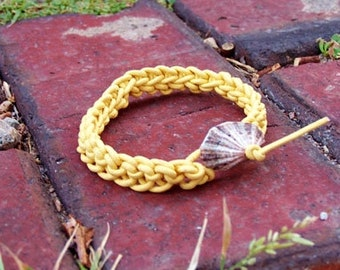Handmade Knitted Leather Bracelet - Canary Leather, Seashell Toggle Clasp