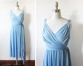 70s wrap dress / vintage 1970s ice blue grecian disco dress / draped cocktail dress / small S