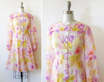 60s floral dress, boho floral chiffon dress, vintage 1960s pink and yellow floral dress, medium m