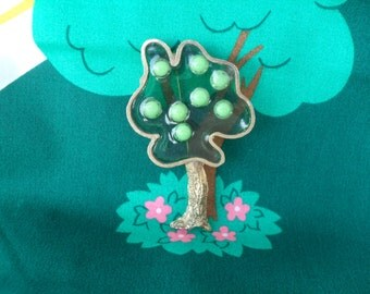 Vintage Tree Pin 60s 70s Modern Gold Tone Metal & Plastic Resin Jewelry