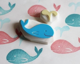 baby whale stamp. marine animal hand carved rubber stamp. birthday scrapbooking. baby shower gift wrapping. summer beach crafts. set of 2