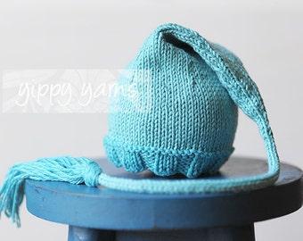 Newborn Knit Hat Elf Nightcap Baby with Tassel Turqouise Blue Cotton Wool