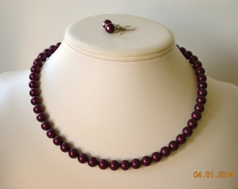 Single Strand Blackberry Swarovski Pearl Beaded Necklace and Earring Set    Great Brides or Bridesmaid Gifts