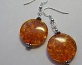 Medium Amber Coin Earrings  E1288