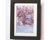Framed Print of Hand Embroidered Plants and Text Image