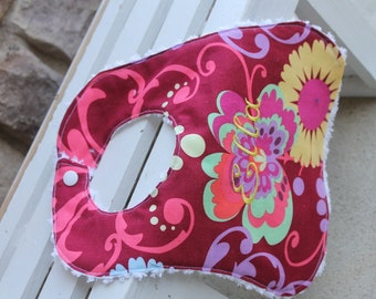 Baby Girl Bib Amy Butler Paradise Garden Floral Print Bib Baby Burp Rags Personalized Monogram Feeding Burpies Boutique Style