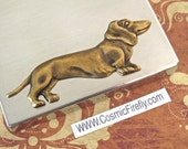 Steampunk Flask Wiener Dog Dachshund Dog Flask Industrial Flask Rectangular Flask Square Edges Silver Flask Gothic Victorian Mixed Metals
