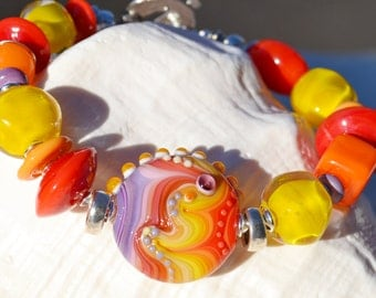 ILLUSIVE- Handmade Lampwork and Sterling Silver Bracelet