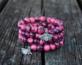 Fuchsia Love Acai Beads Bracelet:  Colorful Acai Beads Memory Wire Bracelet / Eco friendly Jewelry, Organic Beads, Acai Seeds / Handmade