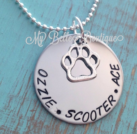 Personalized Hand Stamped Single Name Pet Dog Doggy Puppy Pup Paw Print Necklace