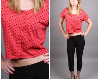 vintage 1980s red & black polka dot crop top scoop neck button up shirt size small medium