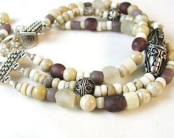African Trade Bead Bracelet, Tribal Bracelet, Multi Strand Bracelet, White Bracelet, Neutral Color