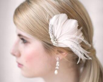 Bridal Feather Fascinator, Bridal Hair Clip, Wedding Headpiece, Wedding Hair Accessory