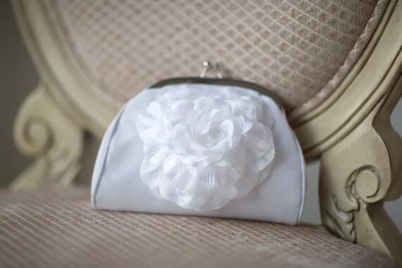 Wedding Purse, Bridal Clutch, White Chiffon Clutch
