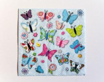 Butterfly Napkin, Paper Napkin for Decoupage, Craft Napkin, Scrapbooking Napkin, Decoupage Paper Tissue, Butterfly Decoupage