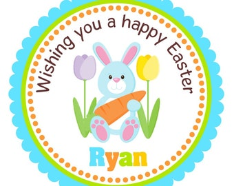 Easter Stickers, Easter Bunny Labels, Personalized Easter Stickers ot Gift Tags -Set of 12