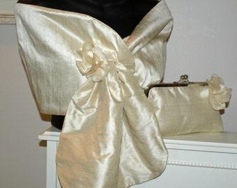 Silk Dupioni Wrap Shawl in Champagne..Hands Free Pull Thru..Clutch/Wristlet to match..Bridal..Wedding..Party..Evening