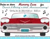 1950s Cruise On Down Memory Lane Party Invitation Personalized Digital Invitation C-556